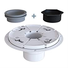 Ushower PVC Shower Drain Base Flange with Threaded Adapter & Rubber Gasket, 2 Inch Outlet No Hub Drain Base for Square Linear Shower Drain Installation