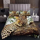 Loussiesd Colcha acolchada de leopardo para niñas y niños 3D Safari Cheetah acolchado Coverlet Wild Animal Coverlet Set acolchado Nature King Size 3pcs