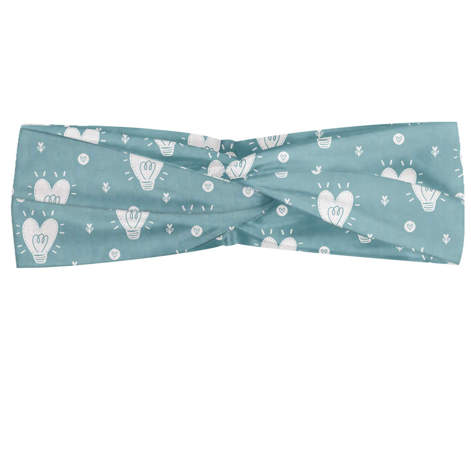 Ambesonne Scandinavian Headband, Hearts Valentines Day Idea Illustration with Pastel Blue Background, Elastic and Soft Women's Bandana for Sports and Everyday Use, Pale Blue and White