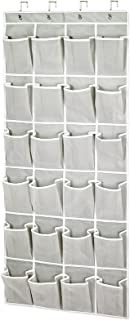 Over The Door Mesh Pocket Shoe Organizer, 24 Large Breathable Durable Pockets with 4 High-end Hooks, Storage Rack for Shoe...