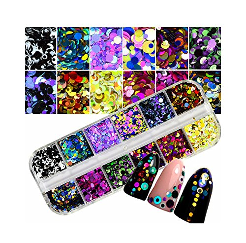 YUYOUG Paillettes colorées Nail Art Conseils Autocollants 3D Maquillage Manucure DIY Stickers Décoration