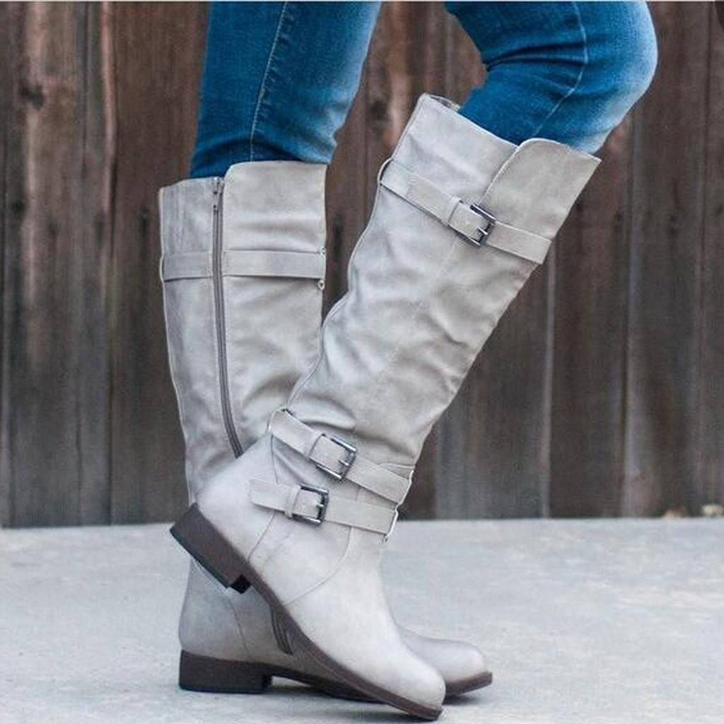 Boots for Women Vintage Side Zipper Mid Calf Boots Winter Warm Snow Boots Platform Boots Ankle Booties