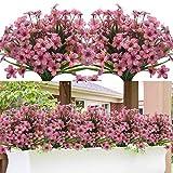 Grunyia 20 Bundles Artificial Flowers, Outdoor Indoor UV Resistant Fake Flowers No Fade Faux Plastic Plants Garden Porch Window Box Decoration