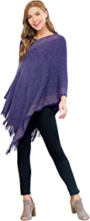 MYS Collection Classic Soft Knit Poncho Shawl Wrap - Basic Warm Pullover Fringe Tassel Sweater Chunky Crochet, Plain