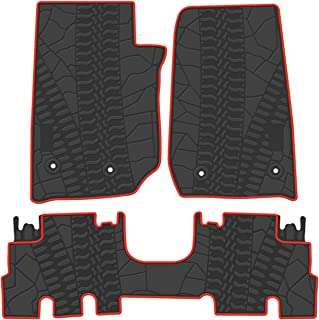 biosp Car Floor Mats for Jeep Wrangler JK 4 Doors 2014 2015 2016 2017 Front And Rear Heavy Duty Rubber Liner Set Black Red Vehicle Carpet Custom Fit-All Weather Guard Odorless
