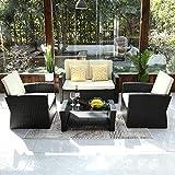YITAHOME 4 Pieces Outdoor Furniture Sofa Set, PE Rattan Wicker Sectional Furniture Conversation Set...