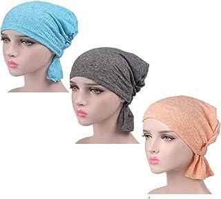 Ci-ONE Womens 3-Pack Cotton Knit Beanie Sleep Turban Hat Headwear for Cancer