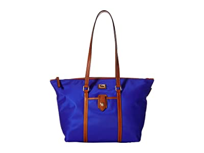 Dooney & Bourke Camden Large Zip Tote (French Blue/Dark Chocolate Trim) Tote Handbags