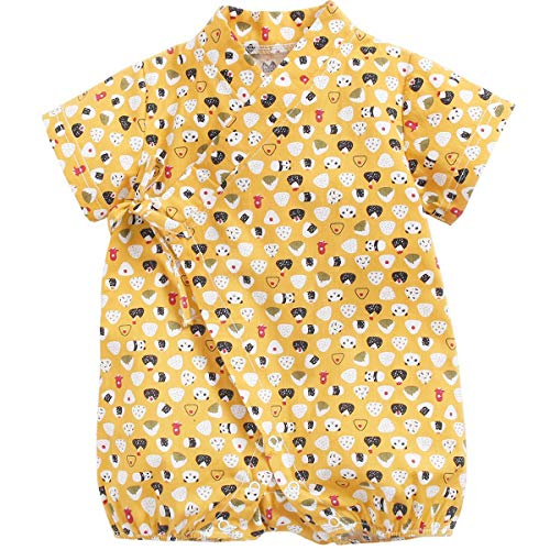 Baby Kimono Japonés Robe Unisex Mameluco de Algodón Infantil Cómodo Pijamas Sueltos (A-4 Yellow,6-12 Meses)