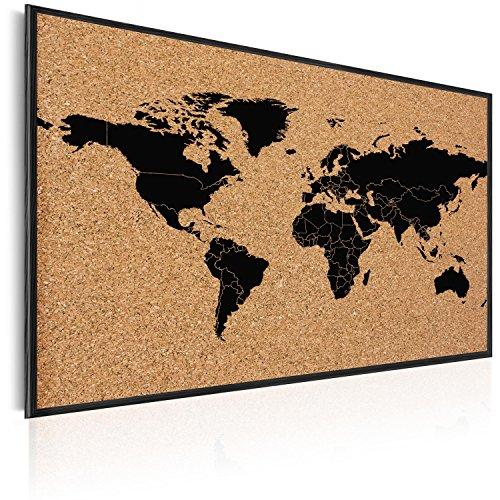 murando Pinnwand Weltkarte 90x60 cm Kork Bilder Holzrahmen Korktafel Korkwand Memoboard Pinboard Aufdruck - Kontinent Welt Landkarte Karte Reise Geographie k-A-0138-q-a