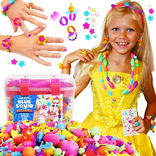 Snap Pop Beads for Girls 730pcs Kids Jewelry Making Kit by Blue Squid Pop Bead Art and Craft product image