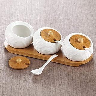MANXUEUP Ensemble de bocaux d'assaisonnement en céramique 3 pièces Texture de Golf Couvercle en Bambou Pots à épices Condi...