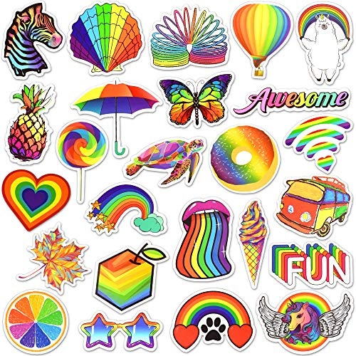 Waterproof Vinyl Rainbow Laptop Water Bottle Phone Stickers Pack (50 Pcs)