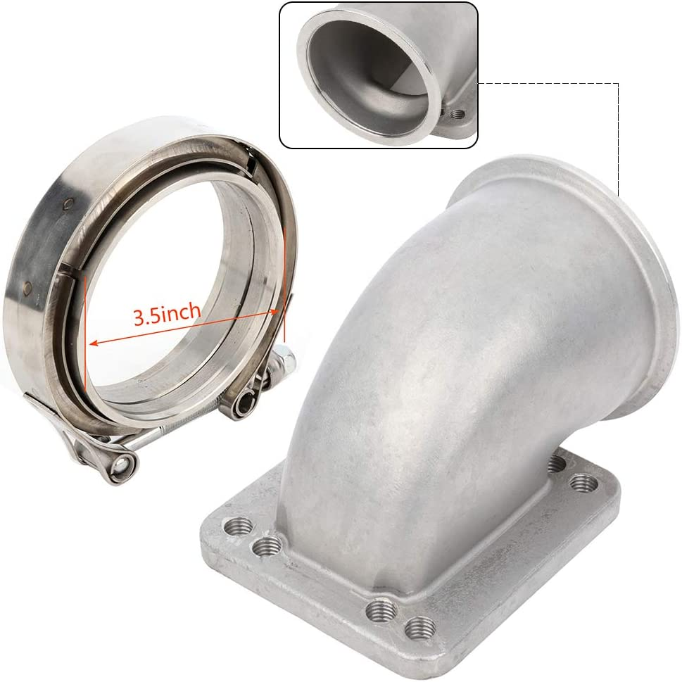 ANPART Vband 90 Max store 54% OFF Degree Cast Turbo Elbow inch Flange Adapter 3.5