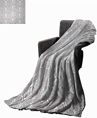 Tapesly Silver Weave Pattern Extra Long Blanket Damask Style Antique Floral Motifs Pattern Royal Victorian Design Vintage Leaves,Super Soft and Comfortable,Suitable for Sofas,Chairs,beds