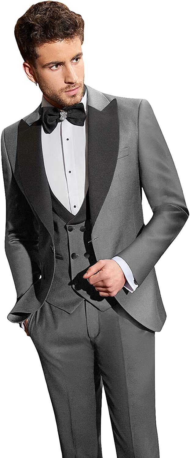 Sxfashbrd Mens Slim Fit Suit 3 Piece Blazer Tuxedo Party Daily Business Jacket Formal Groomsmen Suits for Wedding Coats