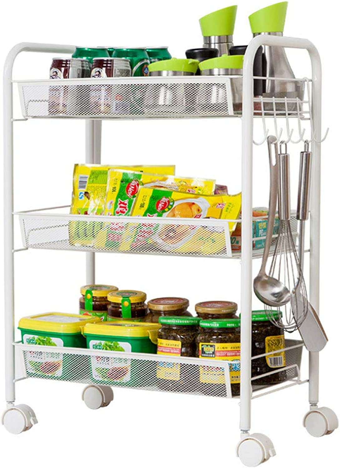 Kitchen Rack Floor Multi-Level Bedroom Removable with Pulley Storage Shelf Bathroom Small Trolley Vegetable Rack Multifunction (Size   45  27  63cm)