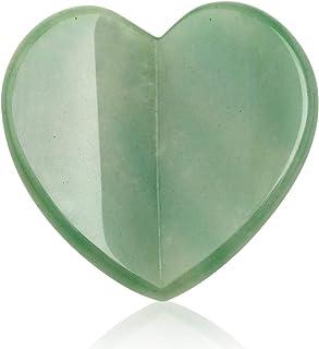 Essential Oil Massage Tool, (2.75 inches) Green Aventurine Heart Shape,Gua Sha Tools, Jade Roller Facial Scraping Massager...