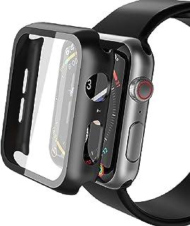 Misxi Apple Watch Series 6 / SE/Series 5 / Series 4 44mm ケース, PC保護ガラスカバー アップルウォッチシリーズ 6/SE/5/4 44mm ケース(ブラック)