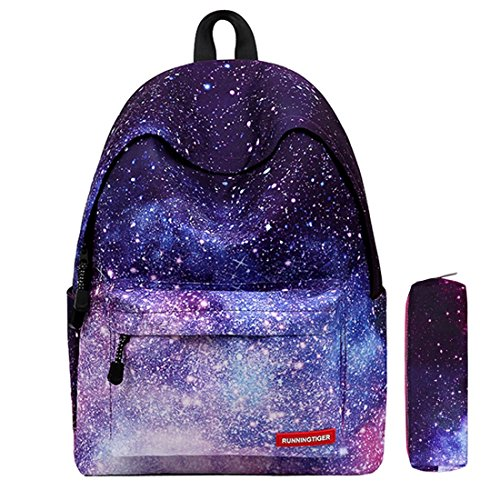 "Global i Mall - Zaino scuola unisex modello ""Galassia"", in tela, in grado di contenere libri, laptop, cartelle o per escursionismo, Galaxy Bag, Purple"