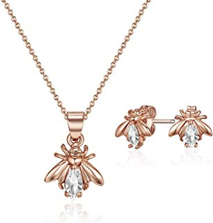 Mestige Rose Gold Crystals Firefly Jewelry Set - 2 Pieces, MSSE3257