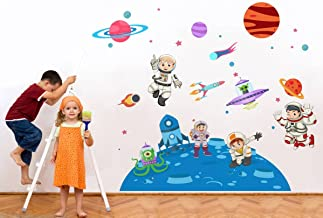 Rawpockets 'Kid's on Space' Wall Sticker (PVC Vinyl, 1 cm x 75 cm x 115 cm, Multicolour)
