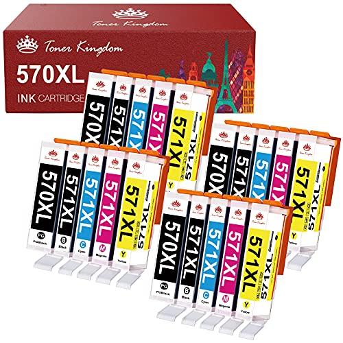 Toner Kingdom 20 Pack 570XL 571XL Cartucce d'inchiostro Sostituzione per Canon PGI-570 CLI-571 XL per Canon PIXMA MG5750 TS5050 MG5751 TS5055 MG5752 MG6850 MG5753 MG6851 MG6852 TS5051 TS6050