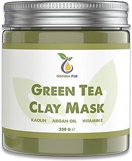 Mascarilla facial de Té Verde 250g, vegana - mascarilla purificante anti espinillas, puntos negros y contra el acné - cuid...
