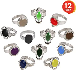 ArtCreativity Color Changing Mood Rings for Girls and Boys - Set of 12 - Adjustable Rings with Color Key Card - Assorted Kids' Toy Jewelry - Cute Birthday Party Favors and Goodie Bag Fillers