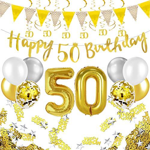 Humairc 50 ans anniversaire blanc or décorations, 50e HAPPY BIRTHDAY bannière Triangle drapeau 6pcs Chiffre suspendu tourbillon, Ballon Chiffre 50, 8pcs Ballons Confetti - Homme femme