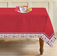 Airwill, 100% Cotton Designer Tablecloth/Teapoy Cloth, Sized by 140cm in Width and 180cm in Length. Use as 6/8 Seaters, Rectangles Shaped. Pack of 1 Piece