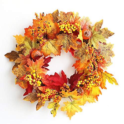 NBCDY Kranz Herbst Ernte Ahornblatt, Kürbis Haustür Home Decor Party Supplies, mit Kürbis, Cotton Boll, Beeren für den Herbst und Thanksgiving-Dekoration