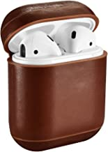 AirPods Case, ICARER Genuine Airpods Leather Case (Front LED Not Visible) Wireless Charging Cover for Apple AirPod 2 & 1 (Brown)