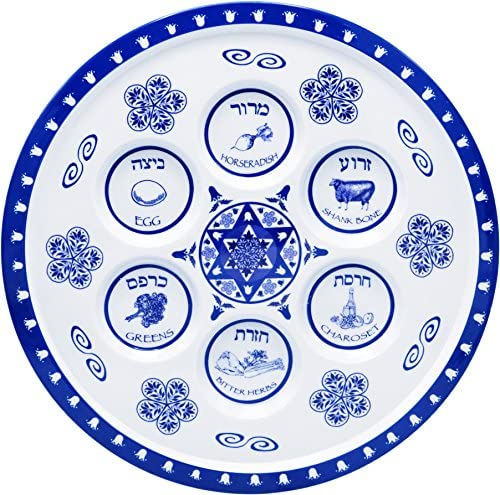The Dreidel Company Seder Plate Passover Plate Melamine Renaissance Design Passover Seder Plates product image