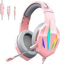 Homyl Fones de ouvido para jogos Fone de ouvido com luz LED de 3,5 mm para jogos para smartphone, computador, computador, ...
