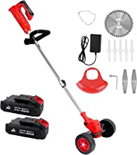 Xverycan Electric Grass Trimmer and Edger, Telescopic Handle Household Garden Small Cordless String Trimmer with 2 Wheels,...