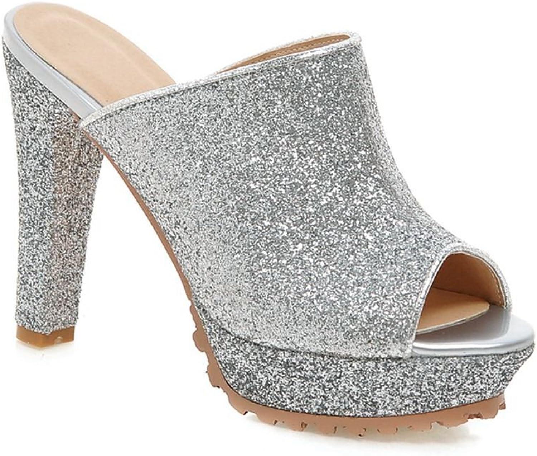 KingRover Women's Sequined Peep Toe High Block Heels Platform Slip On Sandals Mules