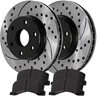 High-End Front+Rear Kit 4 Black Coated Cross-Drilled Disc Brake Rotors 8 Semi-Metallic Pads Fits:- Jeep 5lug