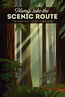 Trinidad, California - Scenic Route - Forest - Geometric Lithograph 100888 (36x54 Giclee Gallery Print, Wall Decor Travel Poster)