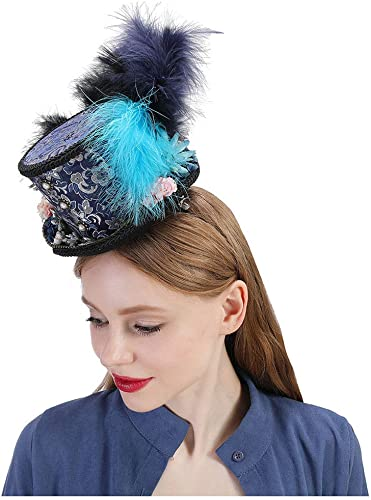 Angela shops Mini Chapeau Haut de Forme, Turquoise Royal Ascot, Chapeau de Course de Chevaux, Chapeau Paisley Tea Party, Chapeau de Bonnet Fou (Couleur   Draw bleu, Taille   25-30cm)