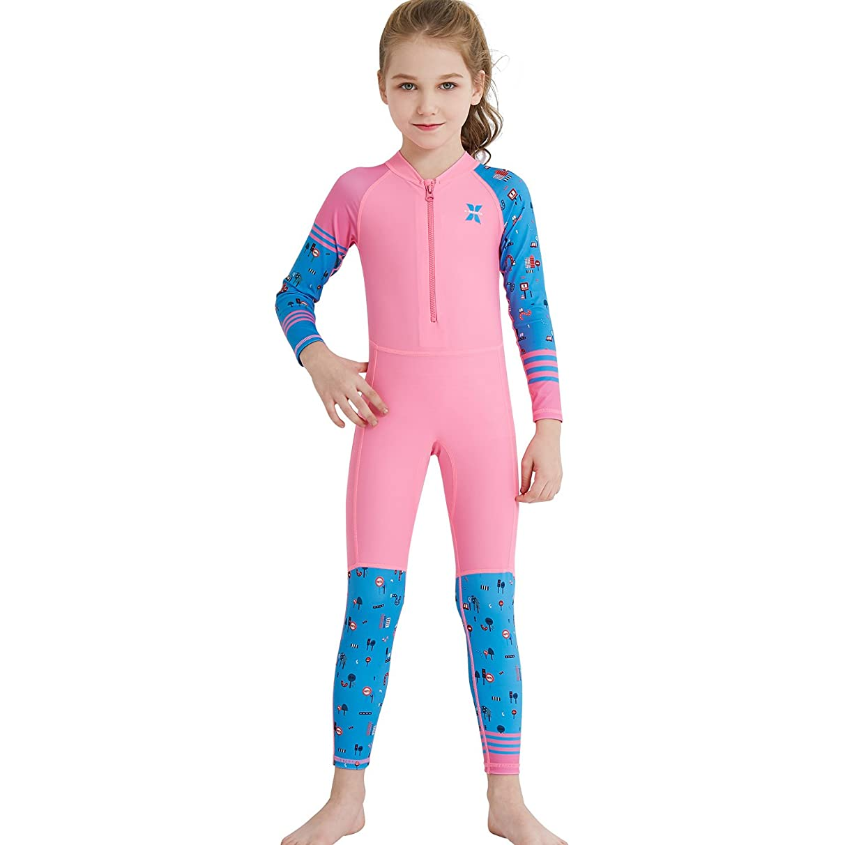 Dark Lightning Kids Rash Guard, Girl's and Boy's One Piece Swimming Suit for Snorkeling and Pool Multi Water Sports Sun Protection UPF 50+, Long Sleeves Full Suit Swimsuit Jumper Suit