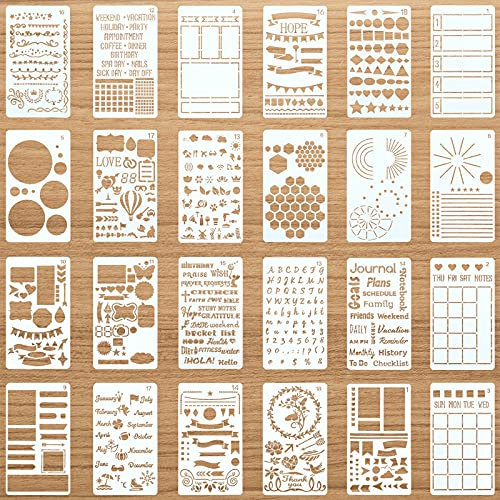 24 Pieces Productivity Stencil Journal Stencil Plastic Planner DIY Drawing Template for Time Saving Planner Creating Layouts Easy Calendars, Lists, Letters, Numbers, Habit Trackers