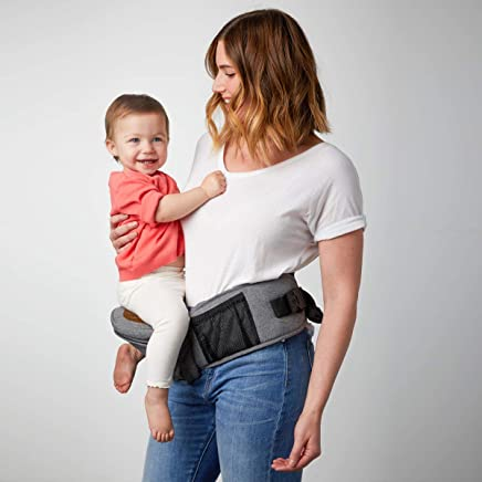 TushBaby The Original Hip Seat Baby Carrier, Grey