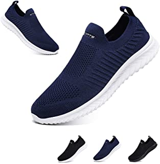 Men's Breathable All Seasons Mesh Shoes Best Walking Shoes for Men Slip Resistant Lightweight Fly-Knit Tennis Running Sneakers
