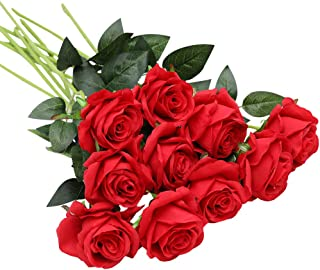 Nubry 10pcs Artificial Silk Rose Flower Bouquet Lifelike Fake Rose for Wedding Home Party Decoration Event Gift (Red)