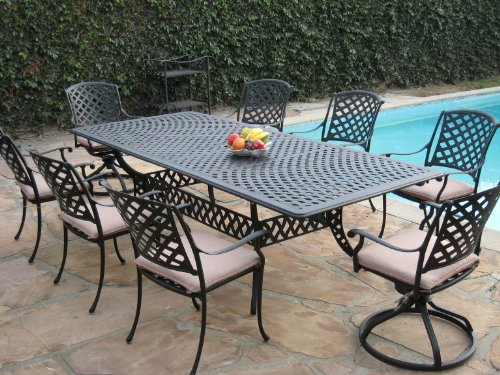 CBM Patio Cast Aluminum 9 Piece Extension Dining Table Set with 2 Swivel Rockers and 6 Arm Chairs KL09KLSS260112T