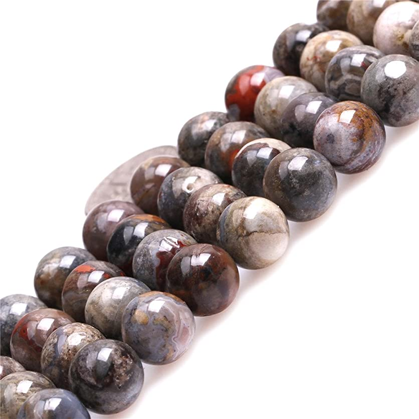 JOE FOREMAN 10mm Gray Morocco Red Lace Agate Semi Precious Gemstone Round Loose Beads for Jewelry Making DIY Handmade Craft Supplies 15
