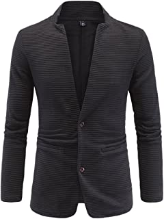ZongSen Men's Slim Fit Casual Collarless Slim Stitching Formal Blazer Jacket