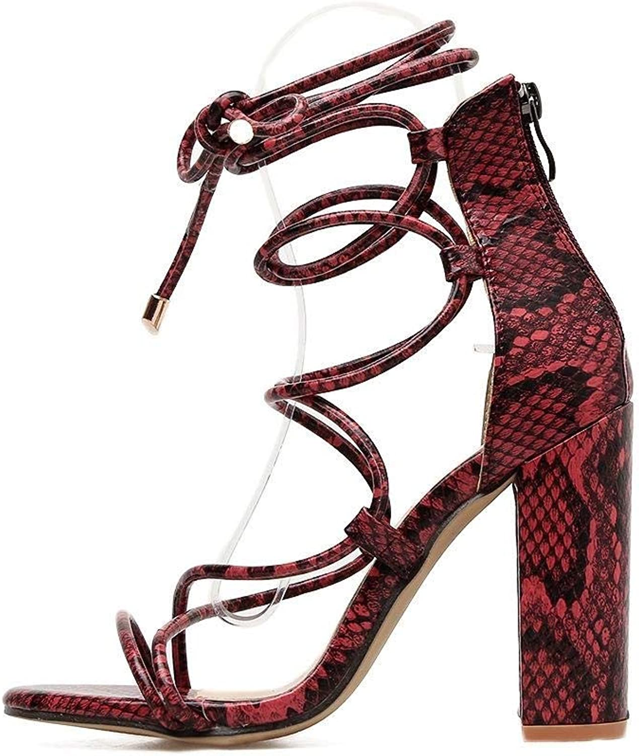 Kirabon Ladies Sexy High Heels Summer Fish Mouth Open Toe Thick with Cross Straps Thick with High Heel Sandals (color   Snakeskin, Size   39)