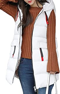 Macondoo Women Fashion Puffer Waistcoat Hoodie Quilted Cotton-Padded Vest